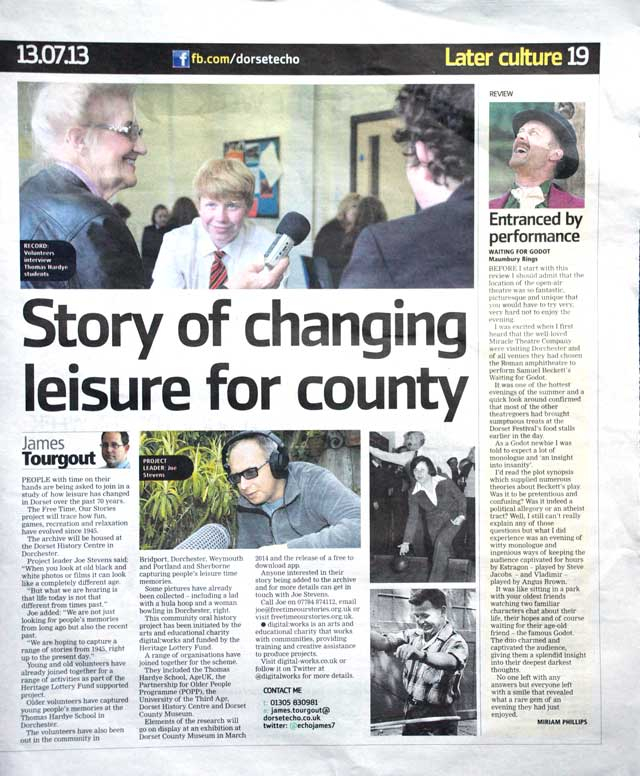full Pg feature in Dorset Echo