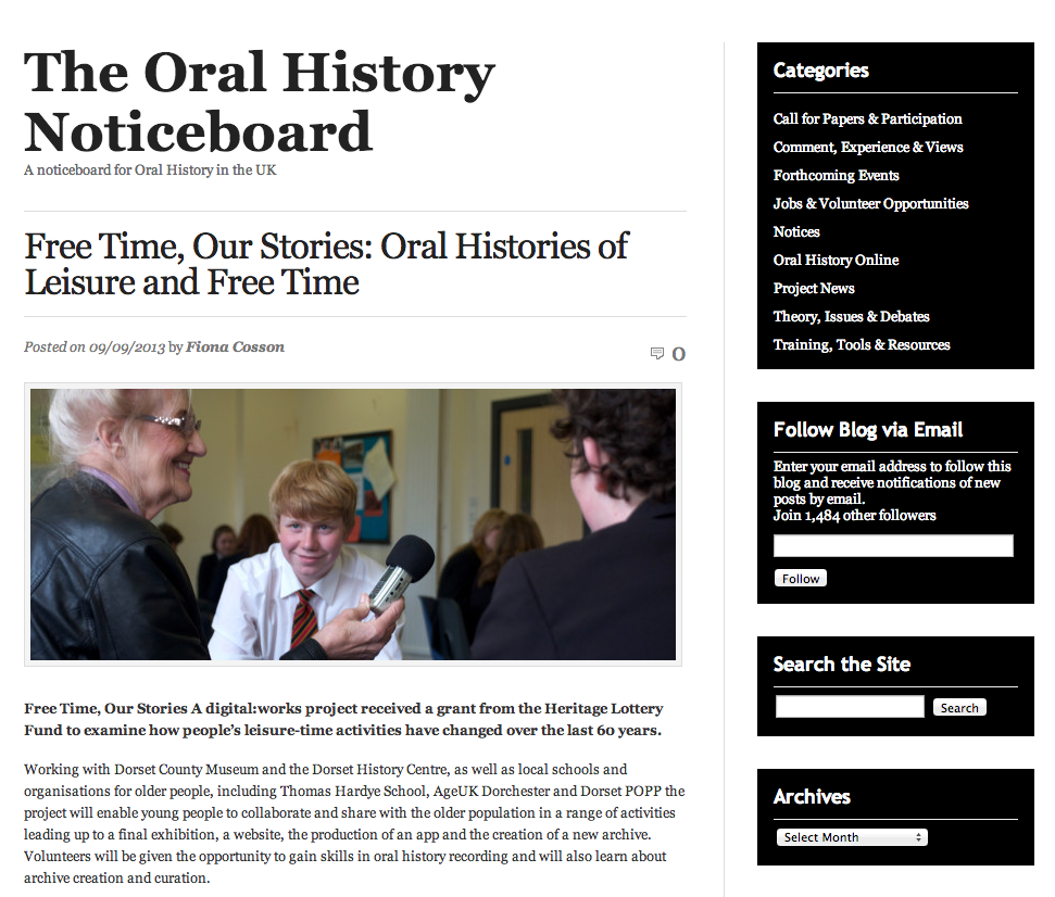 The Oral History Noticeboard screenshot